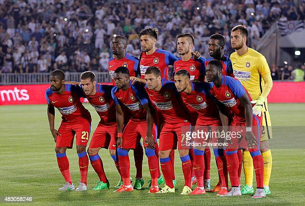 Steaua Bucharest team poses to the photographers prior the UEFA Champions League Third Qualifying Round Second Leg match between FC Partizan Belgrade...