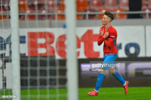 FC Steaua Bucharest's Dennis Man reacts after scoring a goal during the Stage 22 of the Romanian First League Football match between Steaua Bucharest...