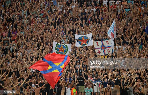 Steaua Bucuresti supporters during the UEFA Champions League playoff first leg match between FC Steaua Bucuresti and Legia Warszawa held on August 21...