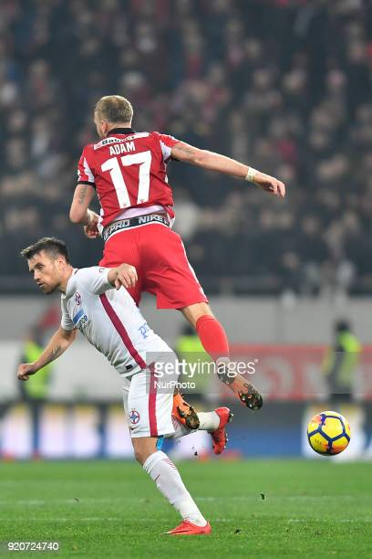 Steaua's Mihai Pintilii down vs Dinamo's Adam Nemec during the Stage 25 of the Romanian First League Football match between Steaua Bucharest and...
