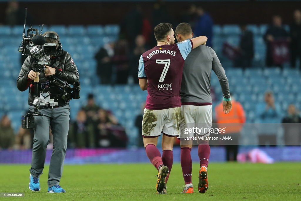 A Stedicam films Robert Snodgrass of Aston Villa and Lewis Grabban of Aston Villa during the Sky Bet Championship match between Aston Villa and Leeds United at Villa Park on April 13, 2018 in Birmingham, England.