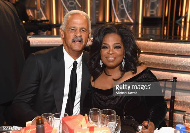 Stedman Graham and Oprah Winfrey celebrate The 75th Annual Golden Globe Awards with Moet Chandon at The Beverly Hilton Hotel on January 7 2018 in...
