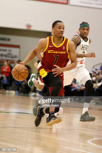 Stedmon Lemon of the Canton Charge handles the ball against the Wisconsin Herd during the NBA GLeague game on March 23 2018 at the Menominee Nation...