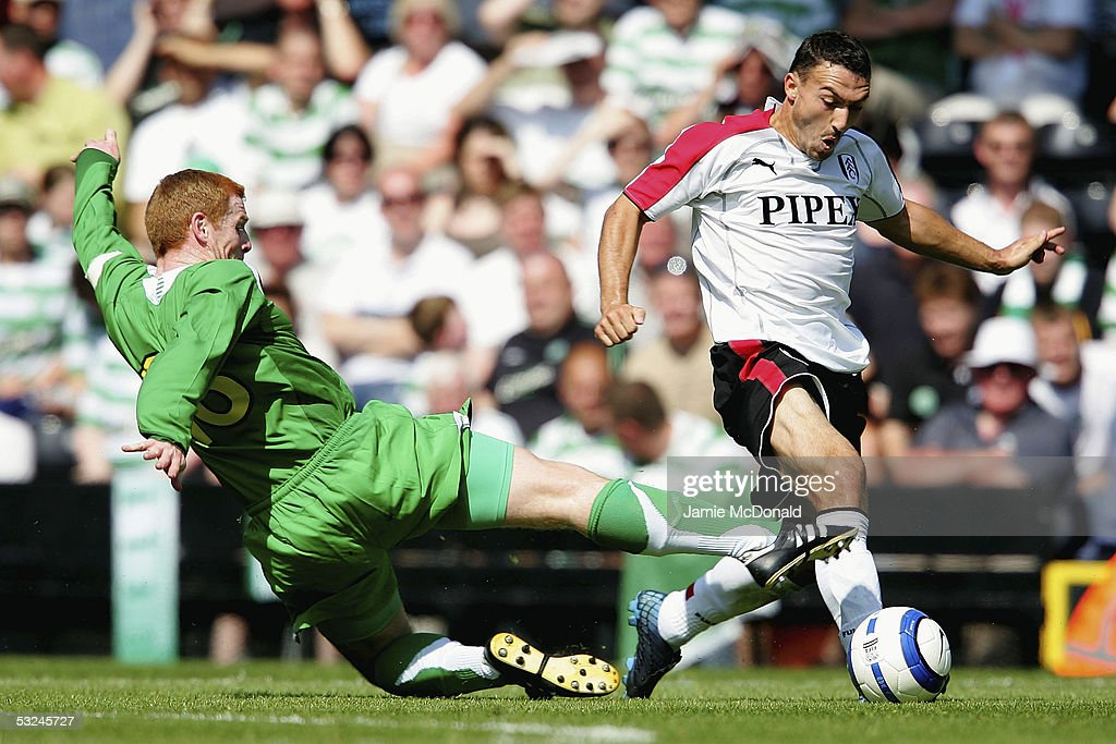Steed Malbranque of Fulham skips the tackle of Neil Lennon of Celtic during the pre-season match between Fulham and Celtic at Craven Cottage on July 16, 2005 in Fulham, England.
