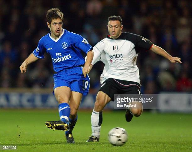 Steed Malbranque of Fulham tries to tackle Joe Cole of Chelsea during the FA Barclaycard Premiership match between Fulham and Chelsea at Loftus Road...