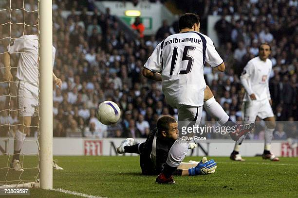 Steed Malbranque of Tottenham Hotspur makes a mistake and scores an own goal during the UEFA Cup quarter final second leg match between Tottenham...