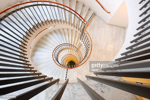 Steel and marble spiral staircase