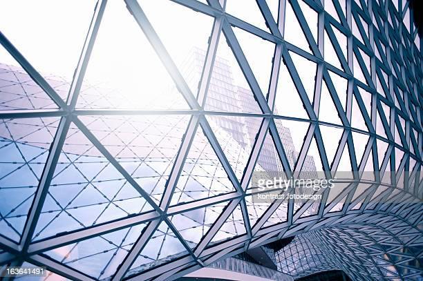 Steel architecture around clear glass windows