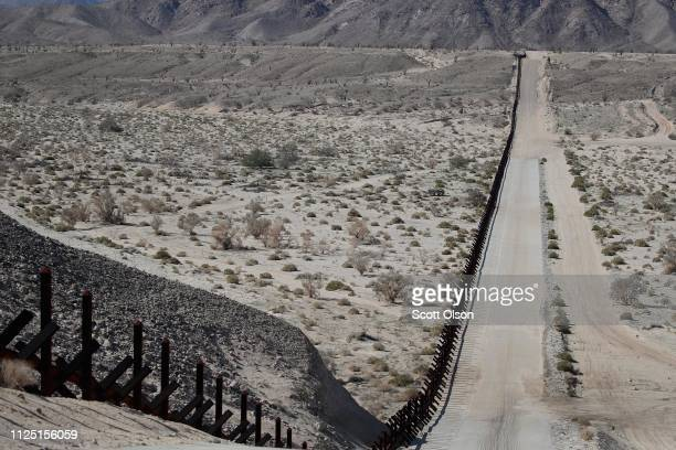 A steel barrier runs along the border of the United States and Mexico on January 26 2019 near Calexico California The US government had been...