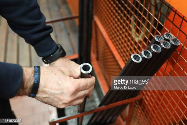 Steel bars that have been bored to be transformed into gun barrels are seen on April 4 2019 at the Perazzi Armi factory in Botticino Mattina a...