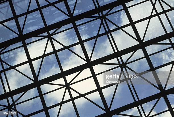 Steel beamed ceiling with windows