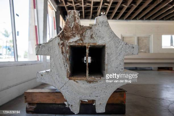 Steel beams are exposed in a remnant of the now demolished LACMA buildings, on Wednesday, July 28, 2021 in Pasadena, CA. Ferrer has preserved...
