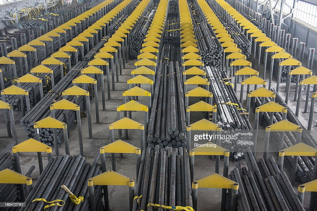 Steel billets stand in storage before being transformed into seamless pipes at the Interpipe LLC pipe factory in Nikopol, Ukraine, on Wednesday, Jan. 30, 2013. Ukraine's Interpipe Group, owned by billionaire Victor Pinchuk, opened a $700 million electric steel mill in Dnipropetrovsk with an annual output capacity of 1.32 million tons of steel for its seamless pipe production. Photographer: Vincent Mundy/Bloomberg via Getty Images