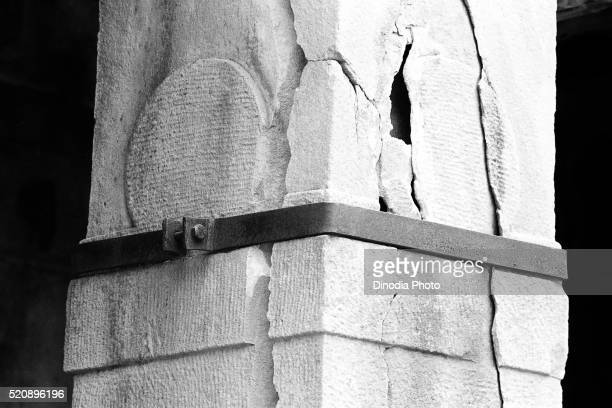 steel bracket supporting broken pillar aihole, karnataka, india, asia, 1985 - 1985 stock pictures, royalty-free photos & images
