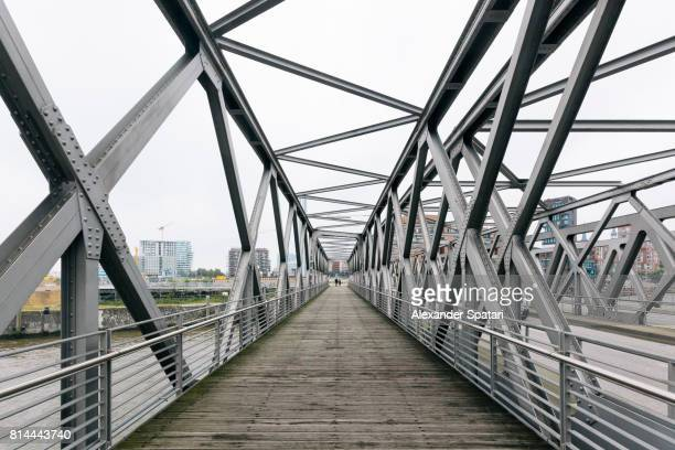 steel bridge in hamburg, germany - man made structure stock pictures, royalty-free photos & images