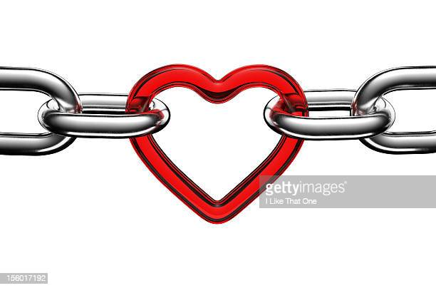 Steel chain links connected by a red heart link