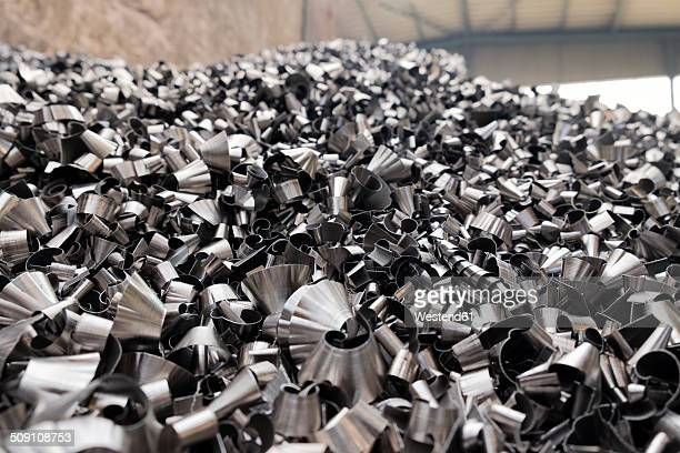 steel chunks in a scrap metal recycling plant - scrap metal stock photos and pictures