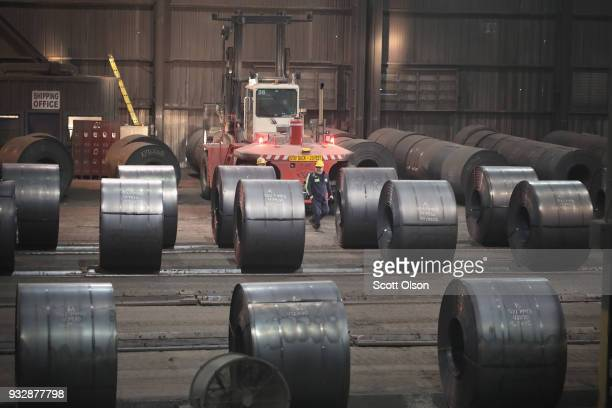 Steel coils produced at the NLMK Indiana steel mill are prepared for shipping on March 15 2018 in Portage Indiana The coils which are custom made to...