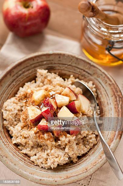 Steel cut oatmeal with apple, honey and cinnamon