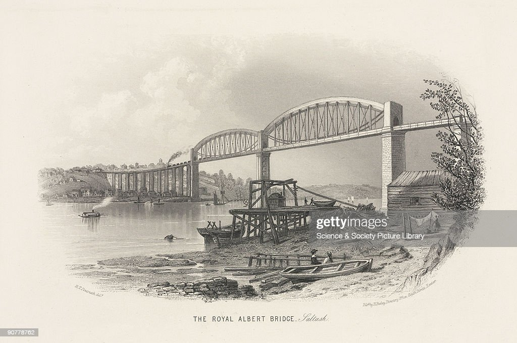 The Royal Albert Bridge- Saltash, 19th century. : Nachrichtenfoto