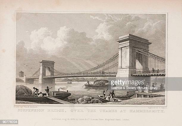 Steel engraving by T Higham after an original drawing by Thomas Hosmer Shepherd Hammersmith Bridge was a chain suspension type designed by William...