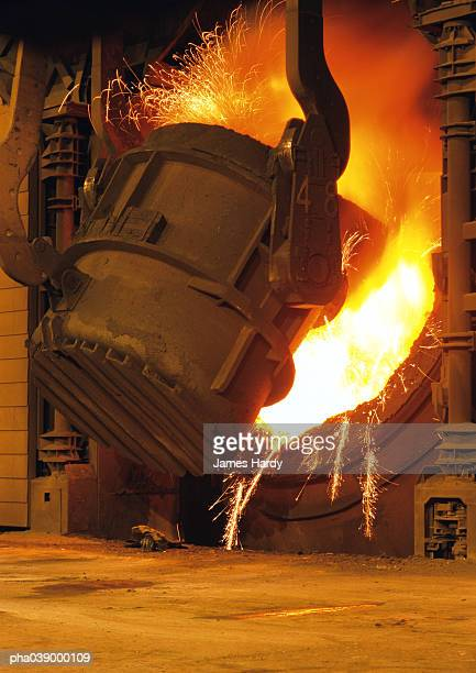 Steel factory, cast iron smelting, sparks flying