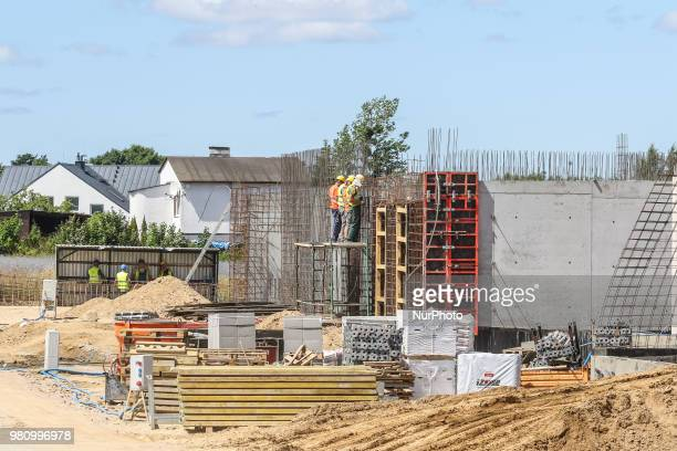 Steel fixers on the new building construction site is seen in Gdynia Poland on 20 June 2018 Builders in Poland completed 69 percent more homes in the...