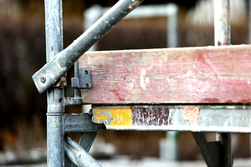Steel frame framework is the most common way to freely work outside the building to repair façade insulation or renovation. 952927362