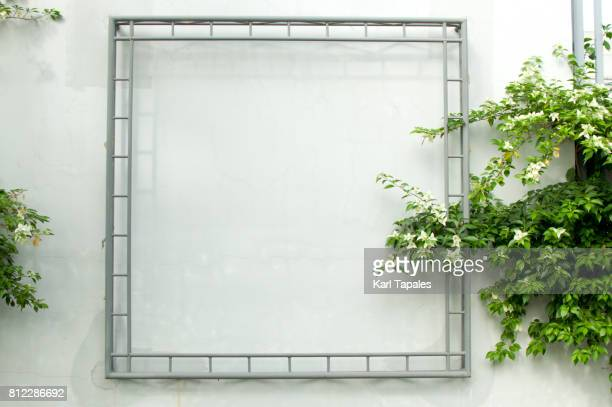 Steel frame with white wall background