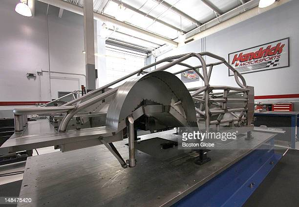 Steel framework for the chassis of a car under construction in the chassis shop at Hendrick Motorsports in Concord NC