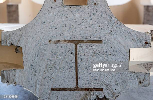 Steel I-beam is encased in a concrete remnant of the now demolished LACMA buildings on Wednesday, July 28, 2021 in Pasadena, CA. Artist Cayetano...