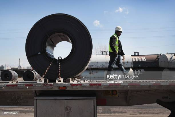 Steel is loaded onto a truck for shipping at the NLMK Indiana steel mill on March 15 2018 in Portage Indiana The coils which are custom made to...