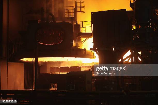 Steel is melted at 3000 degrees Fahrenheit in an electric arc furnace at the NLMK Indiana steel mill on March 15 2018 in Portage Indiana The mill...