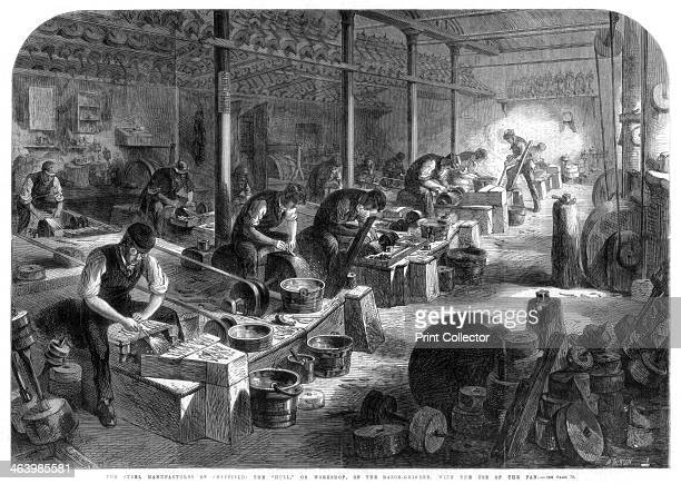 Steel manufactures of Sheffield, Yorkshire, 1866. The 'Hull', or workshop, of the razor grinder, with the use of the fan. A print from The...