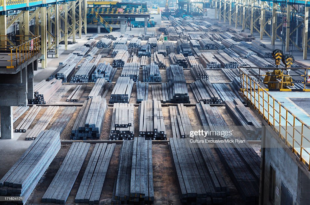 Steel manufacturing plant, Shanghai, China : Stock Photo