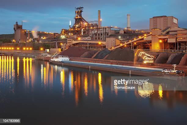 steel mill at night