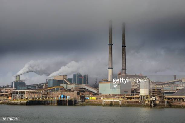 steel mill of tata steel unlimited in ijmuiden, the netherlands - incinerator stock photos and pictures