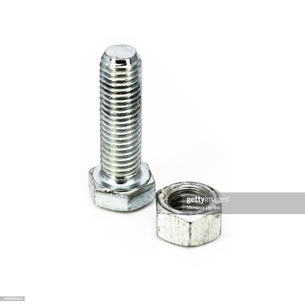 A Steel Nut and Bolt : Stock Photo