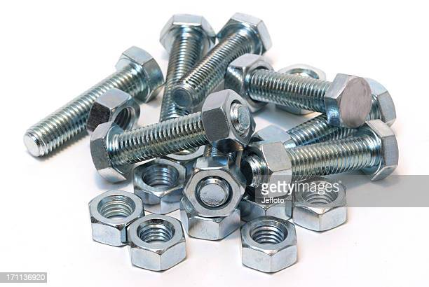 Steel nuts and bolts isolated on white