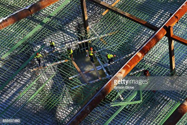 A steel on base layer is set down at Pier 4 in Boston where a ninestory 106unit residential building designed by internationally prominent SHoP...