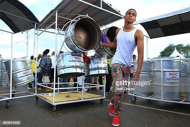 Steel orchestra performs during National Panorama Semi-Finals in the Queens Park Savannah as part of Trinidad and Tobago Carnival on February 1, 2015...