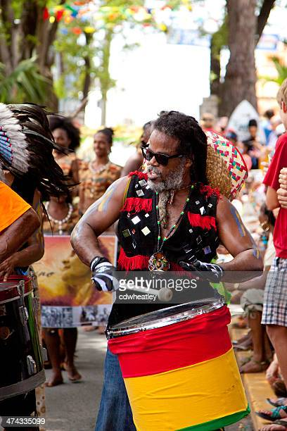 steel panist during 2013 carnival in st. john, usvi - steel drum stock photos and pictures