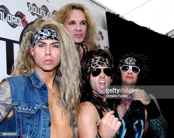 Steel Panther attends press call on day three of the Download Festival at Donington Park on June 14 2009 in Castle Donington England