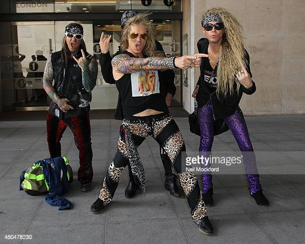 Steel Panther seen at BBC Radio One on June 12 2014 in London England