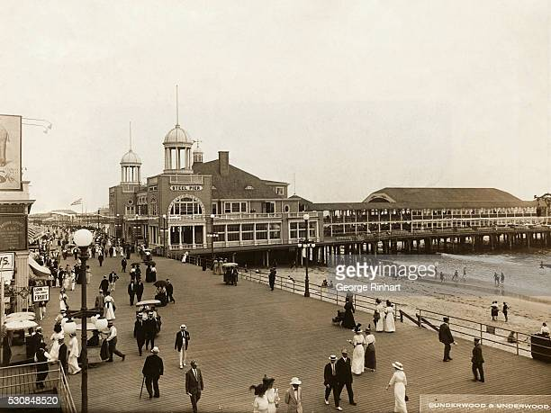 Steel pier at Atlantic City showing the Boardwalk and the beach