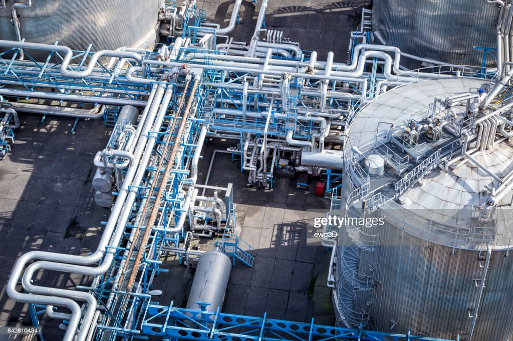 Steel pipelines in the Refinery : Stock Photo
