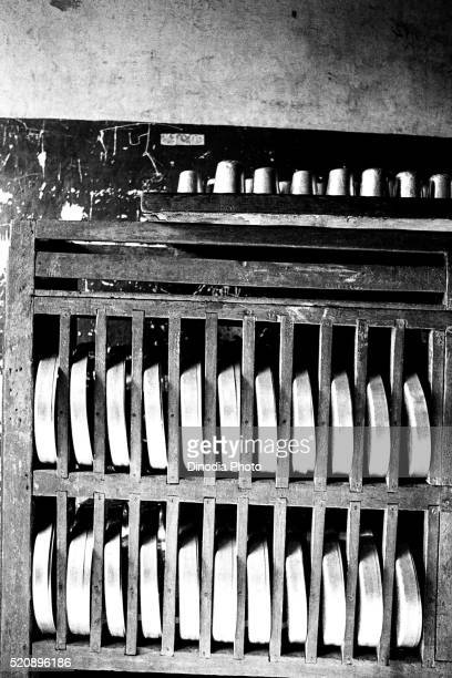 steel plates and glasses rack bhiwandi remand home, mumbai, maharashtra, india, asia, 1985 - 1985 stock pictures, royalty-free photos & images