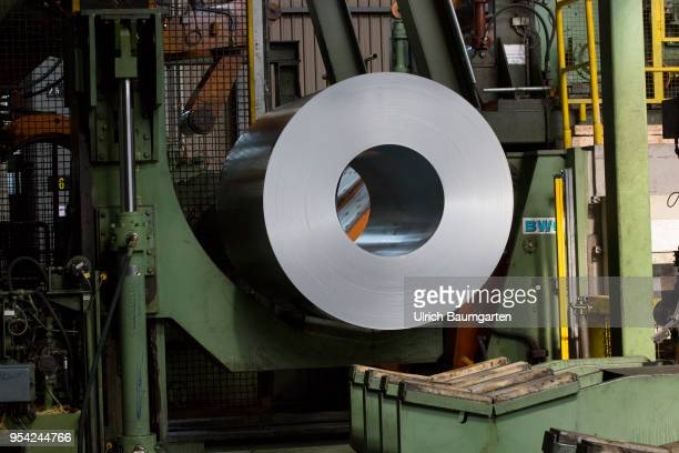 Steel production at ThyssenKrupp in Duisburg The picture shows a finished produced steel roll in a storage hall for coldrolled sheet