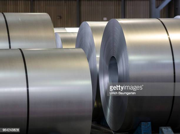 Steel production at ThyssenKrupp in Duisburg The picture shows steel rolls in a storage hall for coldrolled sheet