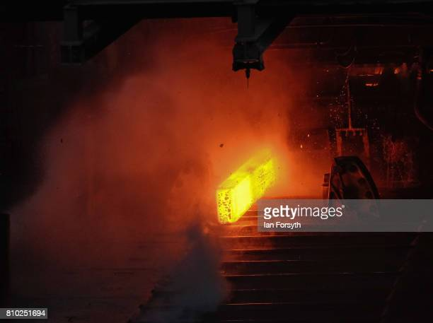 Steel production is carried out ahead of a visit by Labour Party leader Jeremy Corbyn who visited the British Steel manufacturing site to tour the...